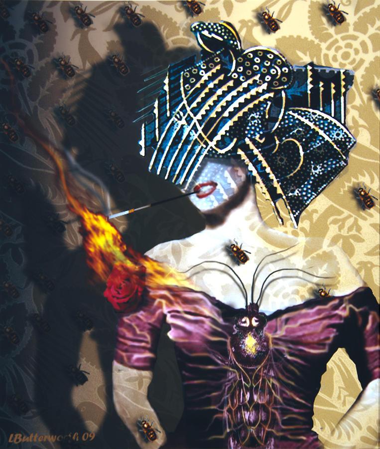 Steampunk Digital Art - Queen Bee by Larry Butterworth
