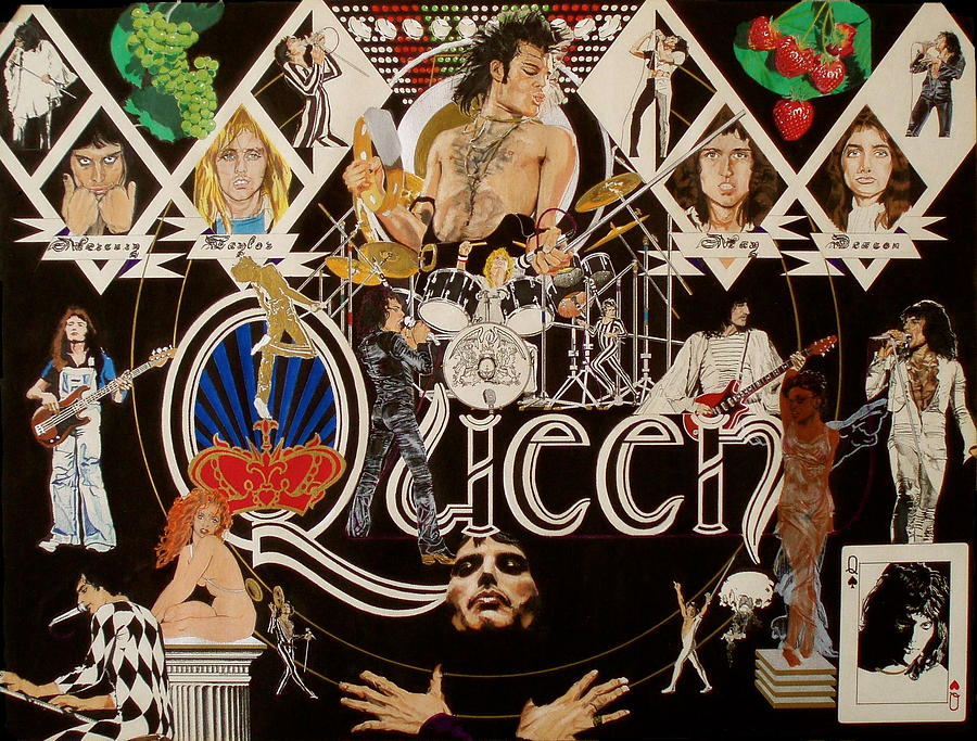 Freddie Mercury;brian May;roger Taylor;john Deacon;guitars;crown;royal;grapes;strawberries;drums; Drawing - Queen - Black Queen White Queen by Sean Connolly