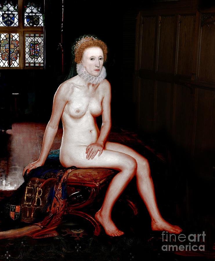 Queen Elizabeth I Painting - Queen Elizabeth I Seated Nude by Karine Percheron-Daniels