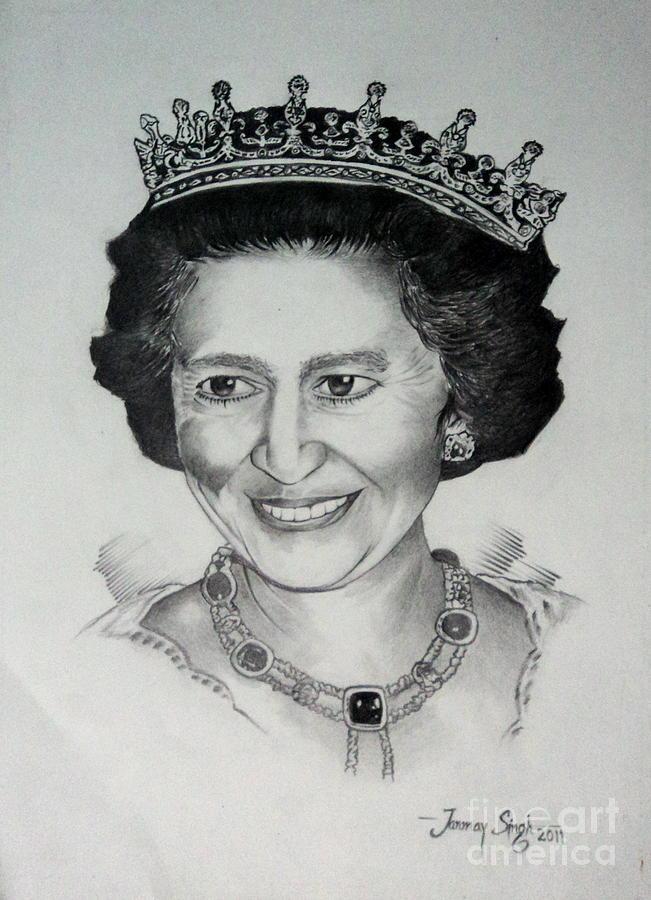 Queen Elizabeth Ii Drawing - Queen Elizabeth II by Tanmay Singh
