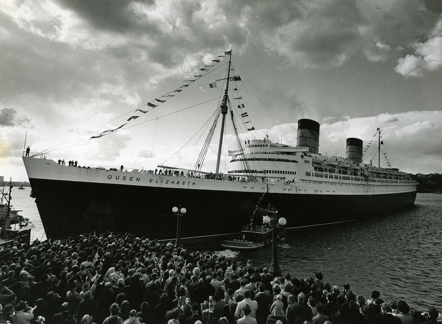 Ship Photograph - Queen Elizabeth Ship In Harbor By Barney Stein by Retro Images Archive