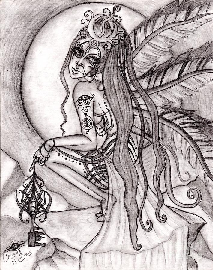 Queen Drawing - Queen I Eloraii by Coriander  Shea