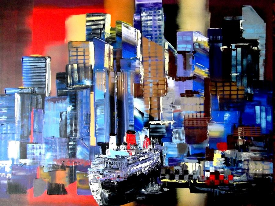 Queen Painting - Queen Mary 2 Docking At New York by Eraclis Aristidou