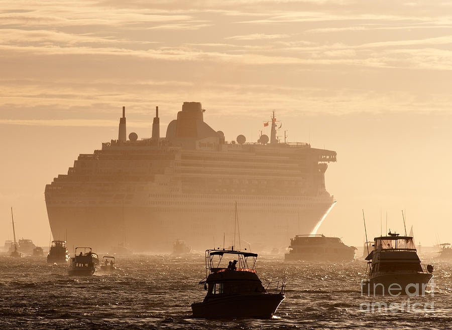 Cruise Photograph - Queen Mary 2 Leaving Port 02 by Rick Piper Photography