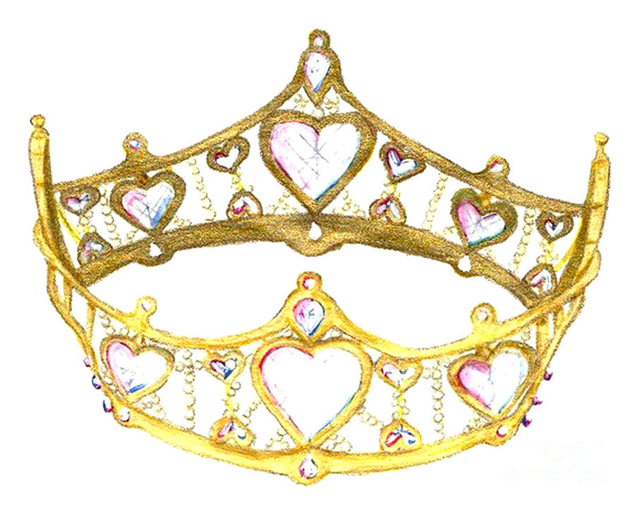 Tiara Painting - Queen Of Hearts Crown Tiara By Kristie Hubler by Kristie Hubler