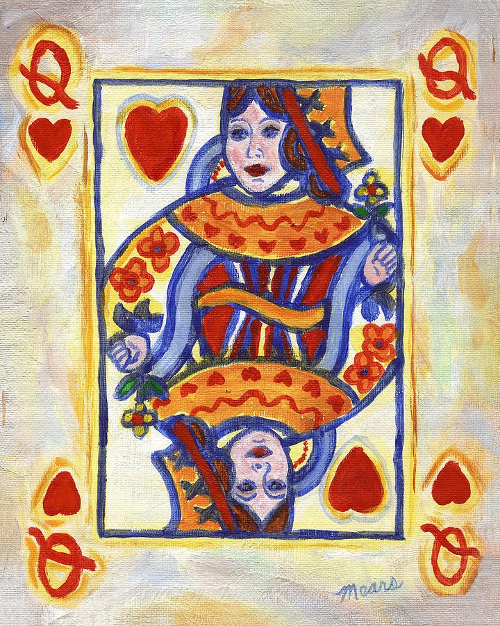 Card Painting - Queen of Hearts by Linda Mears