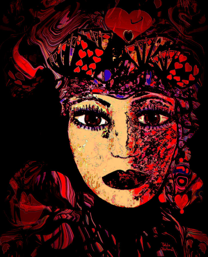 Face Mixed Media - Queen Of Hearts by Natalie Holland
