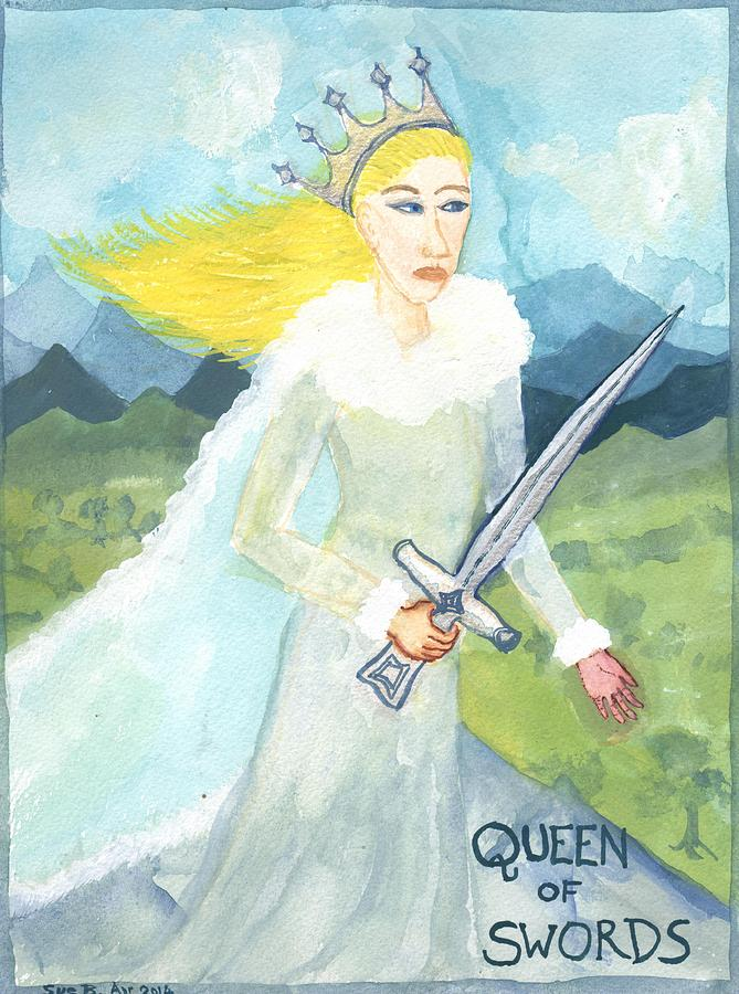 Tarot Painting - Queen Of Swords by Sushila Burgess