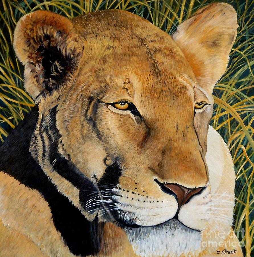 Lion Painting - Queen Of The African Savannah by Caroline Street