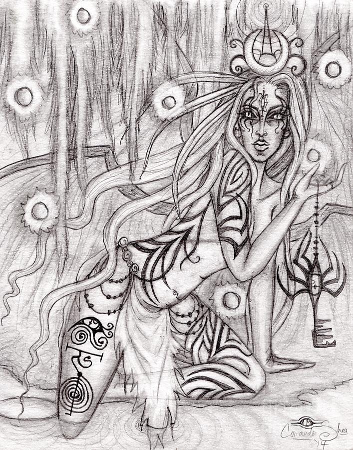 Queen Drawing - Queen W Alatien by Coriander  Shea