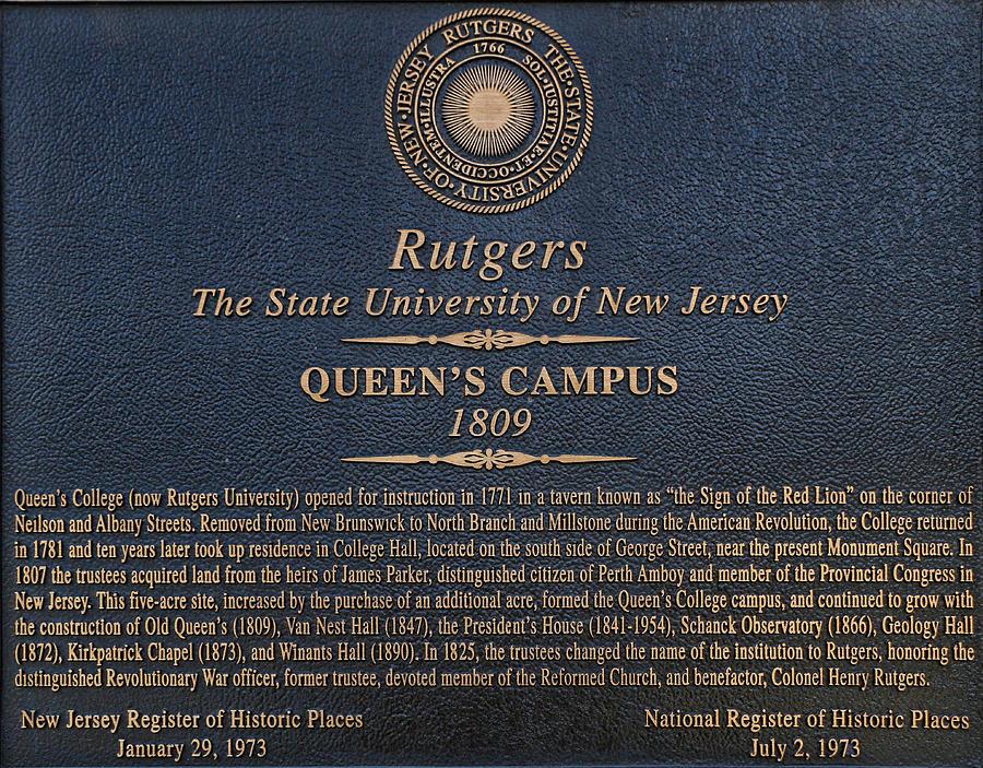 Rutgers Photograph - Queens Campus - Commemorative Plaque by Allen Beatty