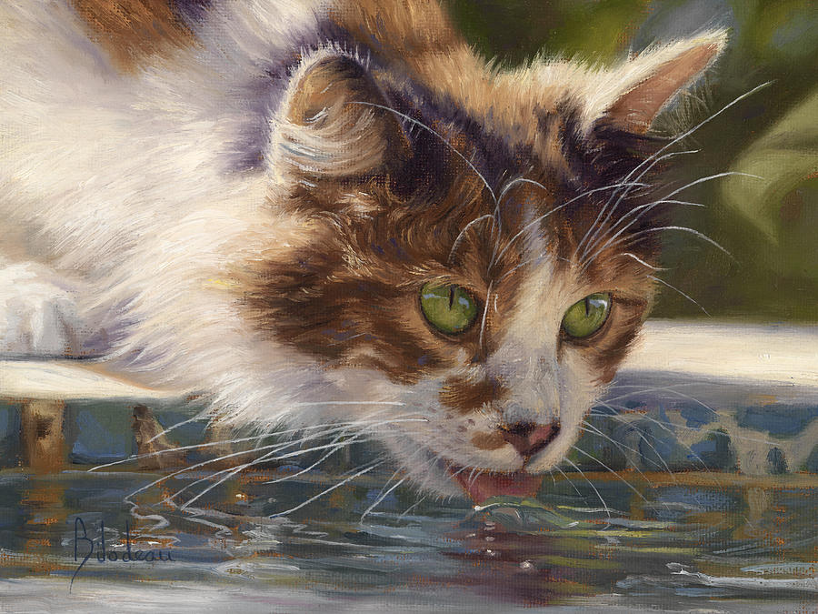 Cat Painting - Quenching Her Thirst by Lucie Bilodeau