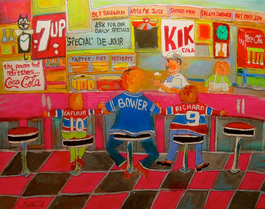 Checkerboard Floor Painting - Quick Deli With Staff by Michael Litvack