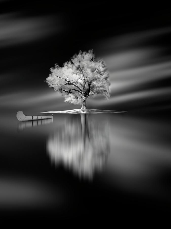 Canoe Photograph - Quiet by David Senechal Photographie