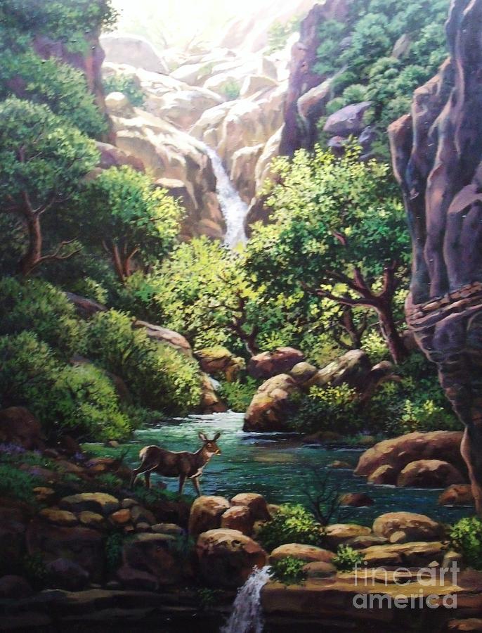 Nature Painting - Quiet Drink by W  Scott Fenton