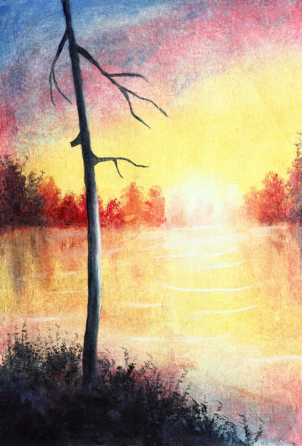 Artwork Painting - Quiet Evening By The River by Nirdesha Munasinghe