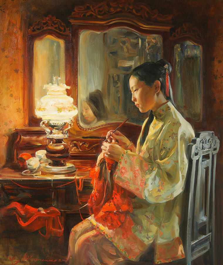 China Painting - Quiet evening by Victoria Kharchenko