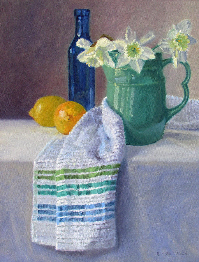 Bonnie Painting - Quiet Moment- Daffodils In A Blue Green Pitcher With Lemons by Bonnie Mason
