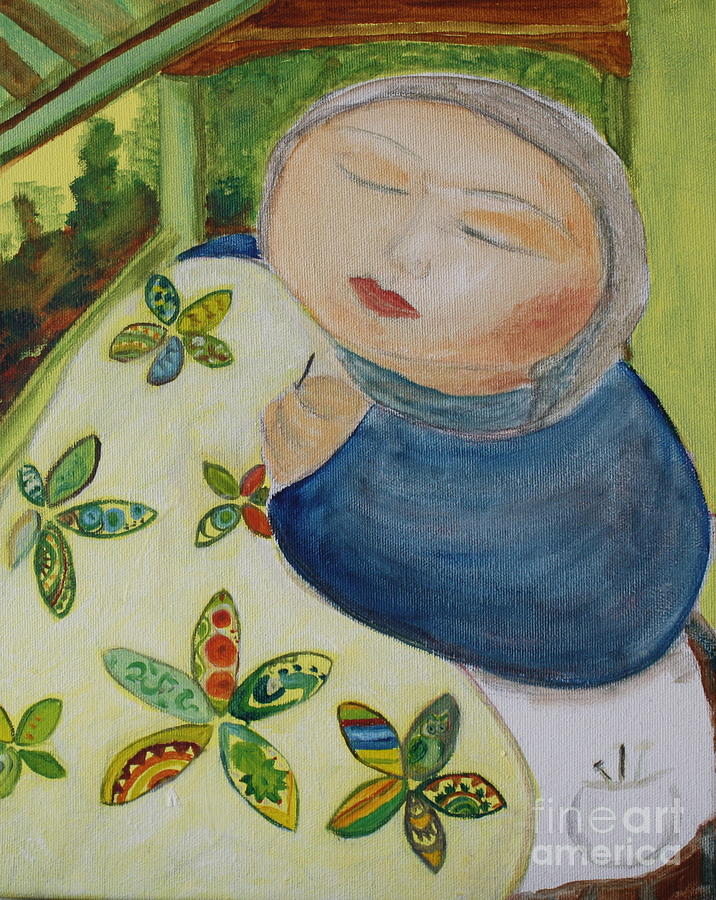Fabric Painting - Quiet Quilter by Teresa Hutto