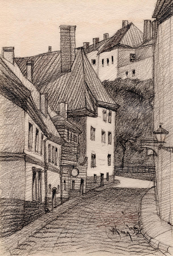 Architecture Drawing Drawing - Quiet by Serge Yudin