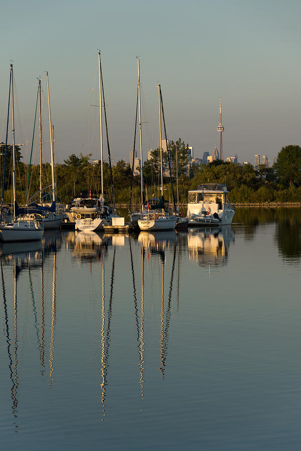 Quiet Summer Afternoon Photograph - Quiet Summer Afternoon - Sailboats And Downtown Skyline by Georgia Mizuleva