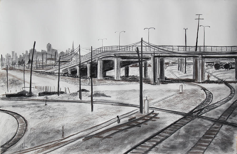 San Francisco Skyline Drawing - Quiet West Oakland Train Tracks With Overpass And San Francisco  by Asha Carolyn Young