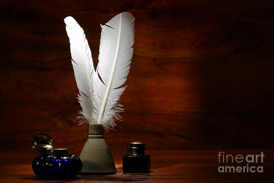 Quills Photograph - Quills And Inkwells by Olivier Le Queinec
