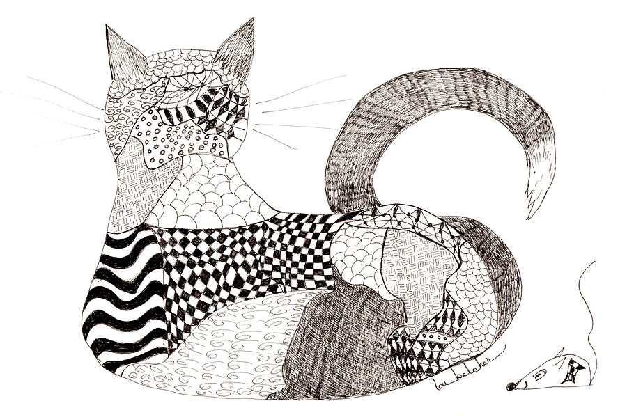Quilt Cat And Checkers Drawing by Lou Belcher : quilt drawing - Adamdwight.com