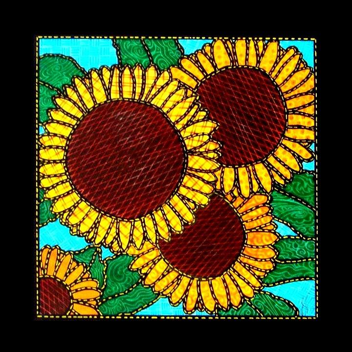 Sunflowers Painting - Quilted Sunflowers by Jim Harris
