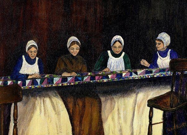 Women Painting - Quilting by Gail Kirtz