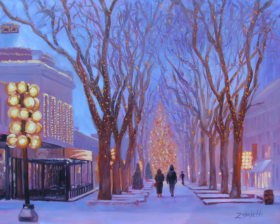 Holidays Painting - Quincy Market At Twilight by Laura Lee Zanghetti
