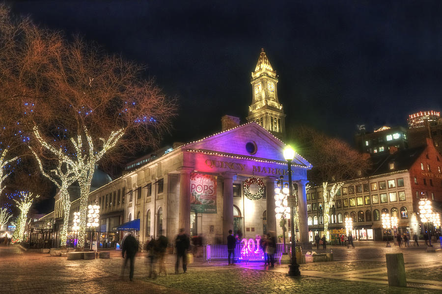 Boston Quincy Market Night Holiday Scene Photograph by Joann Vitali