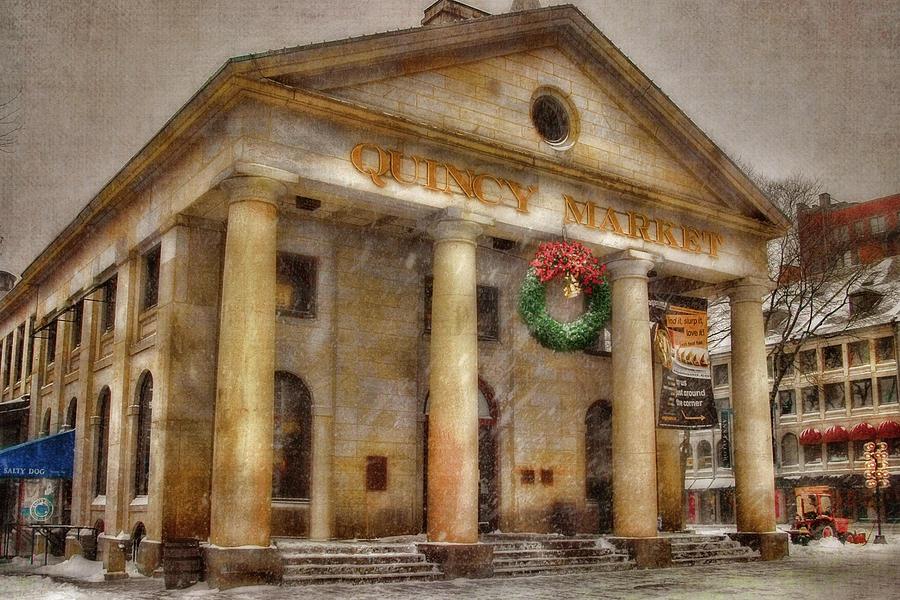 Boston Photograph - Quincy Market Snow 2 by Joann Vitali