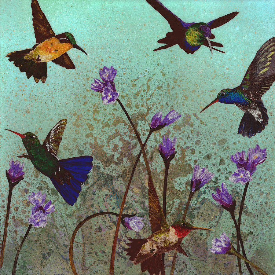 Humming Birds Painting - Quintet by Fred Chuang