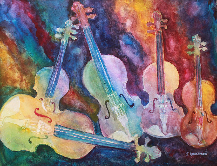 Violin Painting - Quintet In Color by Jenny Armitage