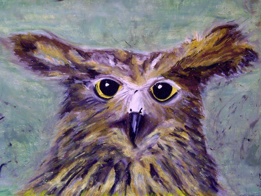 Big Eyes Pastel - Quirky Owl by Therese Legere