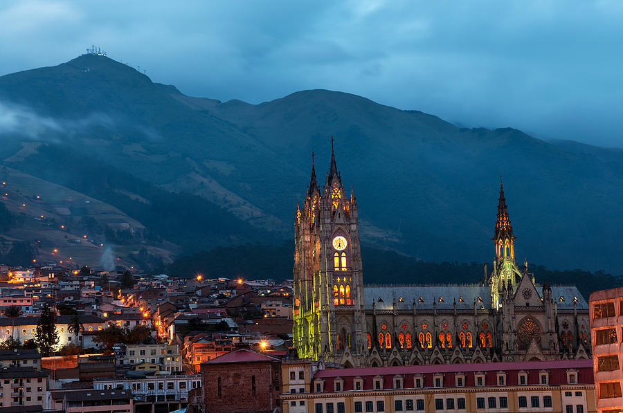 Cathedral Photograph - Quito Basilica At Night by Jess Kraft