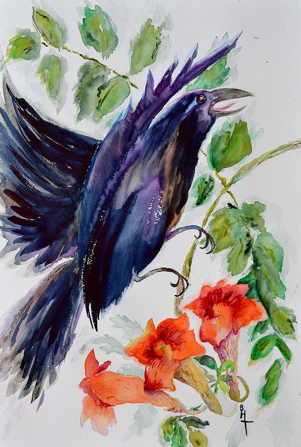 Crow Painting - Quoi II by Beverley Harper Tinsley