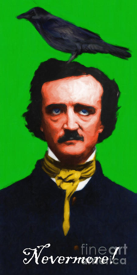 Edgar Photograph - Quoth The Raven Nevermore - Edgar Allan Poe - Painterly - Green - With Text by Wingsdomain Art and Photography