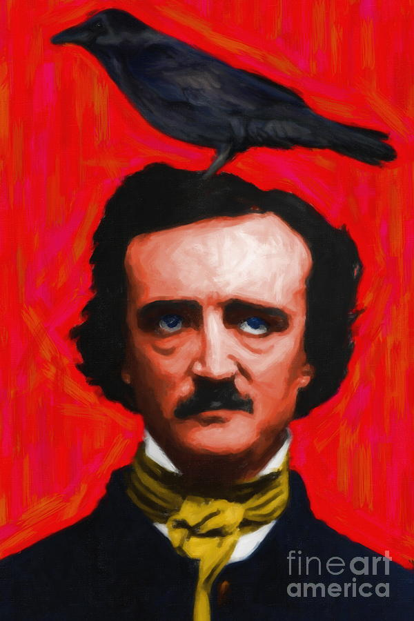 Celebrity Photograph - Quoth The Raven Nevermore - Edgar Allan Poe - Painterly - Red - Standard Size by Wingsdomain Art and Photography