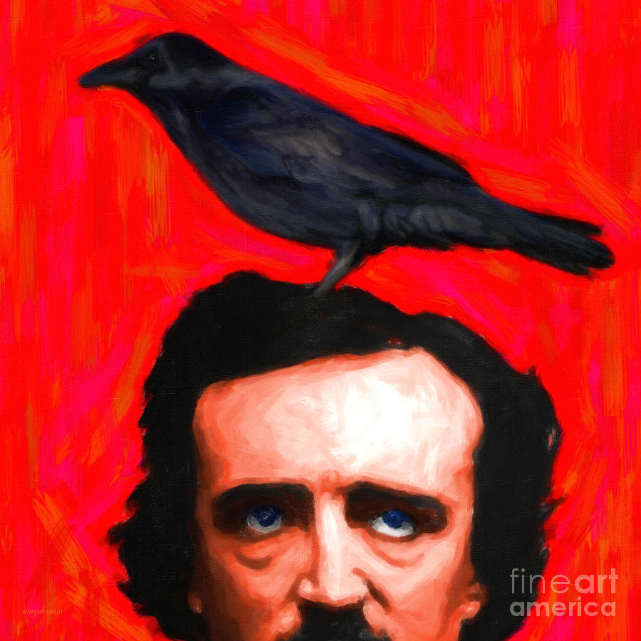 Edgar Photograph - Quoth The Raven Nevermore - Edgar Allan Poe - Painterly - Square by Wingsdomain Art and Photography
