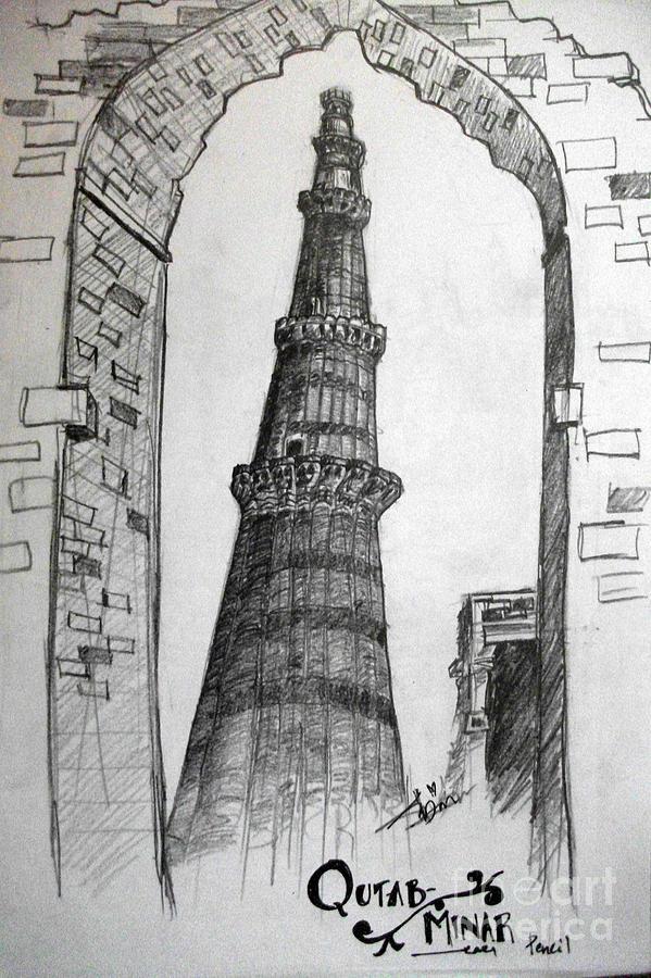 Qutab Minar Drawing by Razi P Qutub Minar Sketch For Kids