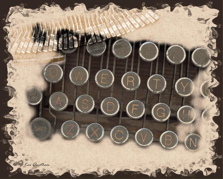 Antique Typewriter Keys Digital Art - Qwerty Old Style by Kae Cheatham