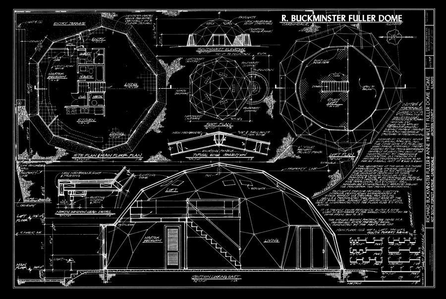 Buckminster Fuller Digital Art - R. Buckminster Fuller Geodesic Dome Home by Daniel Hagerman