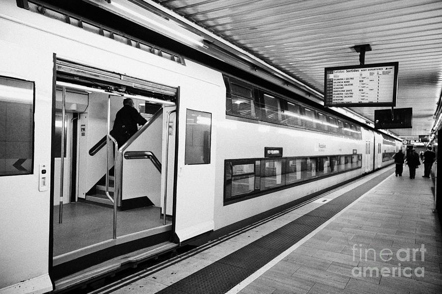 R2 Rodalies De Catalunya Train In Passeig De Gracia Underground Main Line Train Station Barcelona Ca