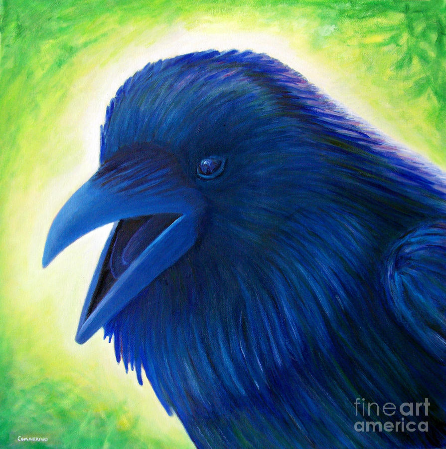 Raven Painting - Raaawk by Brian  Commerford