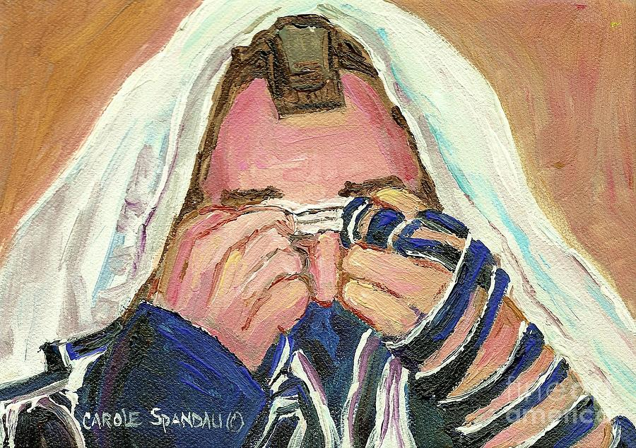 Rabbi Davening Painting - Rabbis Prayer For The Sabbath by Carole Spandau