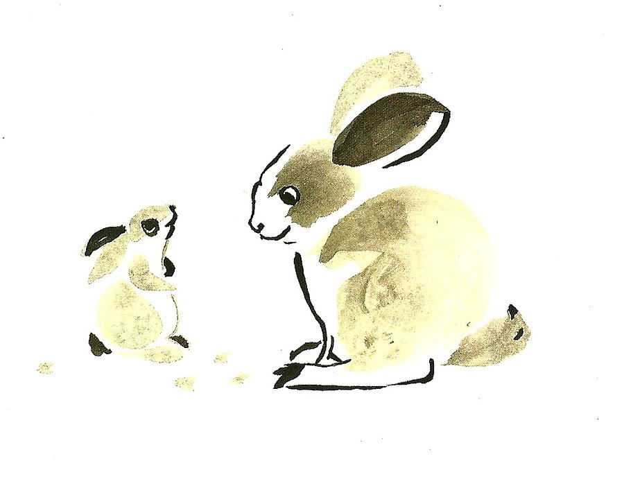 Rabbit - Mother And Bunny Painting