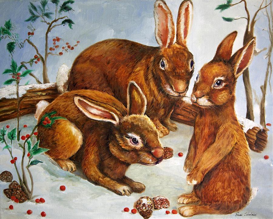 Wildlife Painting - Rabbits In Snow by Enzie Shahmiri
