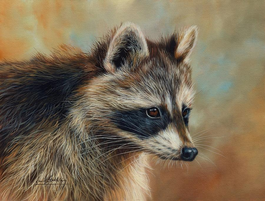 Raccoon Painting by David Stribbling Raccoon Painting